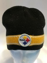 NFL Equipment Pittsburgh Steelers Beanie Knit Hat Black Yellow Patch Logo - $14.69