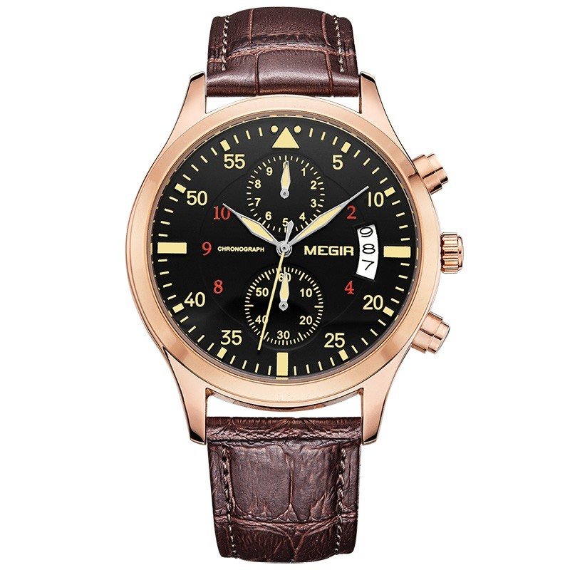 MEGIR ML2021G Men Watch Multifunction Chronograph Quartz Watch Complete Calendar