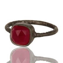 Natural Pink Chalcedony Gemstone Black Rhodium 925 Sterling Silver Ring Jewelry - $14.00
