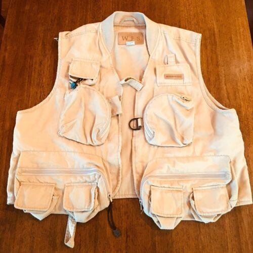 WFS KHAKI Beige fishing vest Size L 60% Cotton 40% Poly #186