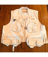 WFS KHAKI Beige fishing vest Size L 60% Cotton 40% Poly #186 - $25.97