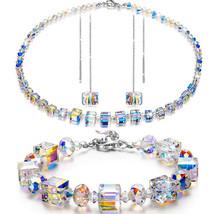 925 Silver Aurora Petal Made with Swarovski Crystal Dangle Earrings&Neck... - $14.69