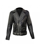 New Mens Punk Full Silver Spiked Studded Brando Cowhide Leather Jacket A... - $279.99+