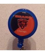 Nfl Chicago Bears Badge Reel Id Holder blue orange alligator clip handma... - $8.99