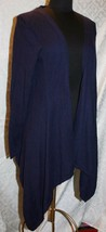 CAbi Cascading Long Cardigan Sweater M Cashmere Blend Style 160 Blue Indigo - $45.29