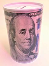 Tin Money Savings Piggy Bank with Ben Franklin $100 Bill Money Coin Saver - $7.09