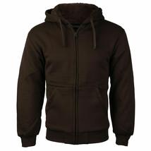 Men's Athletic Soft Sherpa Lined Fleece Zip Up Hoodie Brown Sweater Jacket