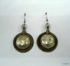 vintage antique tribal old silver earrings disk design traditional jewelry - $95.04