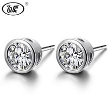 Wk Simple Sterling Silver Stud Earrings Women Classic Round Luxury Crystal Earin - $11.60