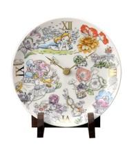 Disney Alice in Wonderland Ceramic clock table clock Flower porcelain madeJapan  - $88.11