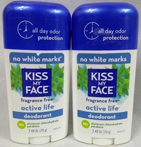 Lot of 2 Kiss My Face Active Life Deodorant Fragrance Free 2.48 oz - $26.73