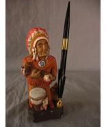 J Vincent Studios Native American Pen Holder 1986 Vintage Ceramic Indian  - $11.67