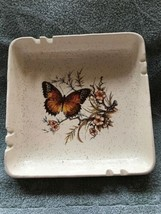 "Treasure Craft-USA-butterfly-large 8"" Square Ashtray-heavy - $30.00"