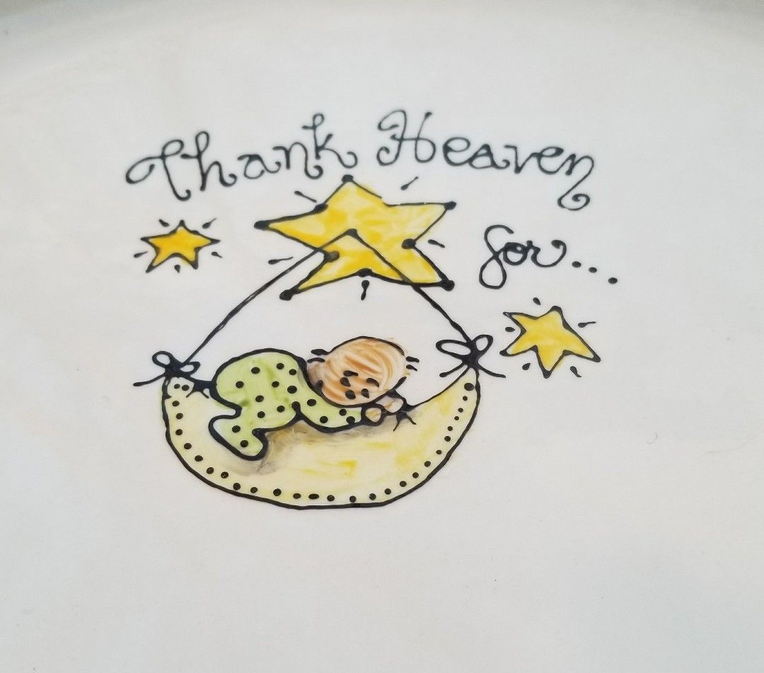 Primary image for Baby Shower Platter Plate Gift Thank Heaven for Babies Gender Reveal Party