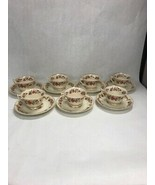 7 sets tea coffee cup saucer Syracuse China OPCO SHARON  OLD IVORY Flowered - $39.59