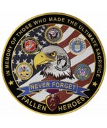 """12"""" NEVER FORGET FALLEN ARMY AIR FORCE NAVY MARINE CORPS USCG PURPLE HEART PATCH - $37.99"""