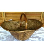Vintage Chinese Willow Market Basket w/ Wooden Handle - $150.00