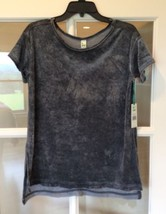 Crushed Velvet Top Charcoal Green Tea New Womens Small Short Sleeve Shir... - $19.99