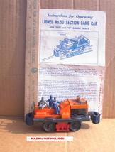 LIONEL #50 Postwar Section GANG CAR Works with Inst Sheet Off Center Horn - $29.99