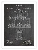 "Louis Pasteur Brewing Beer Poster Blackboard Pasteurization 1873 Patent 18x24"" - $24.65"