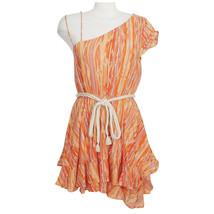 FREE PEOPLE Orange Heart Shaped Face Asymmetrical Belted Cotton Mini Dress M - $64.99