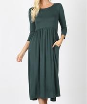 3/4 Sleeve Dress, Hunter Green Dress, Dress with Pockets, Colbert Clothing
