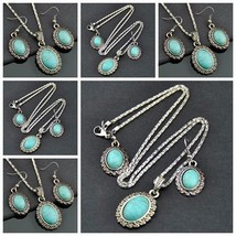 6set Fashion Flowers Turquoise Pendant Necklace Earrings set wholesale - $40.00