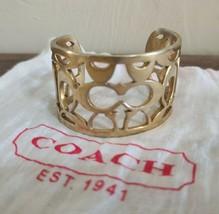 Coach Gold Tone Cuff Bracelet Wide Thick Designer Fashion Jewelry  - $18.00