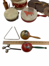 Vtg 14pc Instrument Lot Drum Triangle Cymbal Maracas Percussion Tambourine image 2