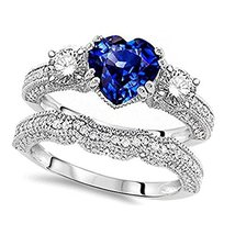 Heart Shape Blue Sapphire & CZ Dia Wedding Bridal Ring Set 925 Sterling Silver - $129.99