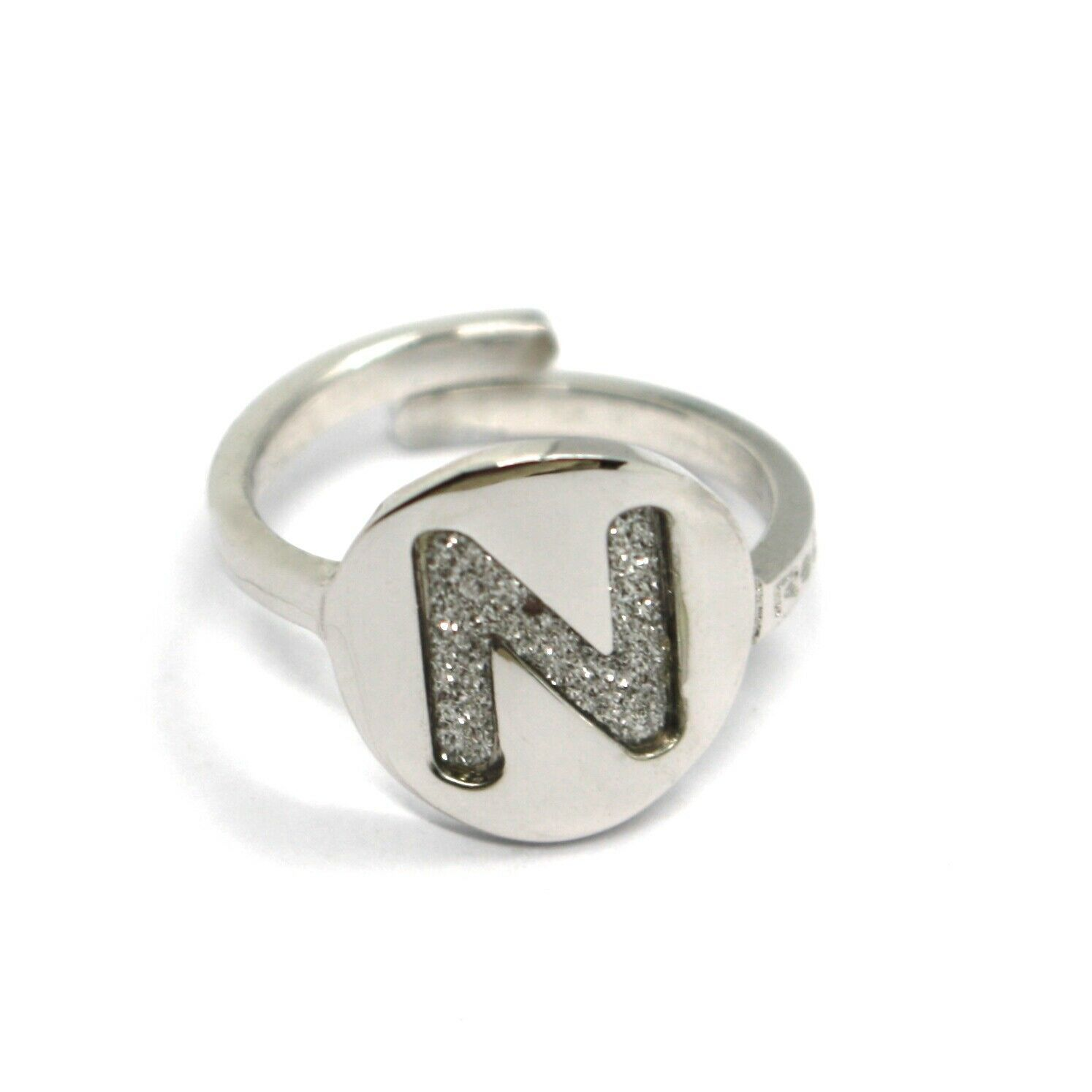 REBECCA BRONZE RING, LETTER N, INITIAL WITH GLITTER, MADE IN ITALY, ADJUSTABLE