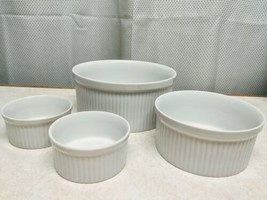 4 Dansk All White Round Casserole Souffle Baking Dish Vegetable Serving Bowls - $45.82