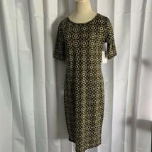LuLaRoe LLR Julia Dress Fitted Geometric Floral Print Size Medium Fall C... - $24.72
