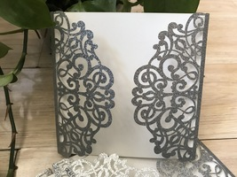 50pcs Glitter Silver Laser Cut Wedding Invitations,Invitations,Invitatio... - $66.30