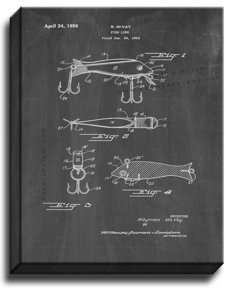 Primary image for Fish Lure Patent Print Chalkboard on Canvas