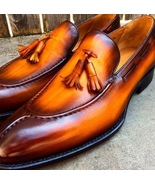 Classic Two Tone Handmade Tassels Loafer Party Wear Leather Shoes - $145.00+