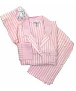 Victoria's Secret The Flannel PJ pajama set, Pink/White Stripe, Large - $63.86