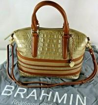 Brahmin Medium Asher Gold Tan Stripe Croc Embossed Leather Handbag with ... - $160.05