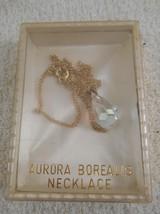 VINTAGE 50'S AURORA BOREALIS CRYSTAL TEARDROP NECKLACE, GOLD CHAIN, ORIG... - $29.39