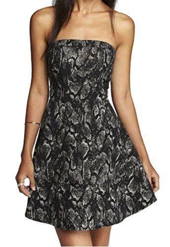 Express Women's Flared Dress Skirt Fitted Bodice Metallic Leopard Size 10