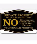 Private Property No Soliciting No Trespassing Under surveillance Aluminu... - $15.83