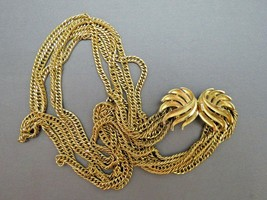 VTG Couture Trifari Necklace Mult Chain Gold Plated Designer Fancy Leaf ... - $39.59