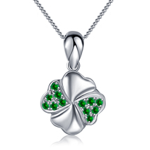 Women's Fancy Pendant With Chain 14k White Gold 925 Silver Round Green Sapphire - $47.25