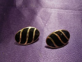 Trifari Gold Tone Black Enamel Vintage Stud Earrings Designer Signed - $24.75