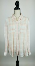 White House Black Market Top 10 Button Front Shirt Pink Plaid High Lo A6... - $19.28