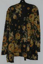 ZigZag Stripe Brand Black Floral Peek A Boo Button Womens Cardigan Size XL image 3