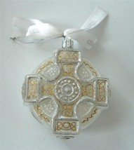Waterford  Xmas Ornament Celtic Cross Blown Unsilvered Glass Frosty Silv... - $19.79