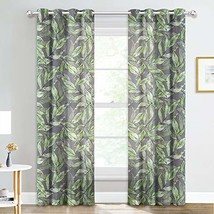 NICETOWN Decorative Print Sheer Curtains - Faux (W52 x L84|Leaf - Apple ... - $47.78