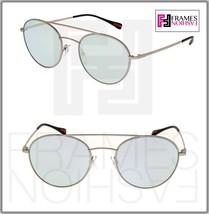 PRADA 51S Linea Rossa Spectrum Round Sunglasses Matte Silver Blue Mirrored PS51S - $191.57