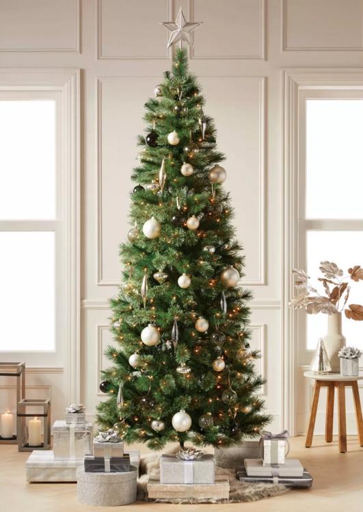 7.5ft Pre-lit Artificial Christmas Tree Slim Virginia Pine with Clear Lights NIB